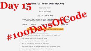#100DaysOfCode – Day 15
