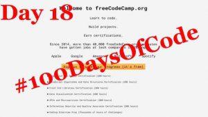 #100DaysOfCode – Day 18
