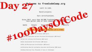 #100DaysOfCode – Day 27