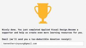 Blog #100DaysOfCode Day 4 Award Applied Visual Design Trophy