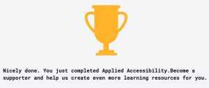 Blog #100DaysOfCode Day 5 Award Applied Accessibility Trophy