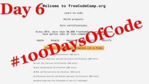 #100DaysOfCode – Day 6